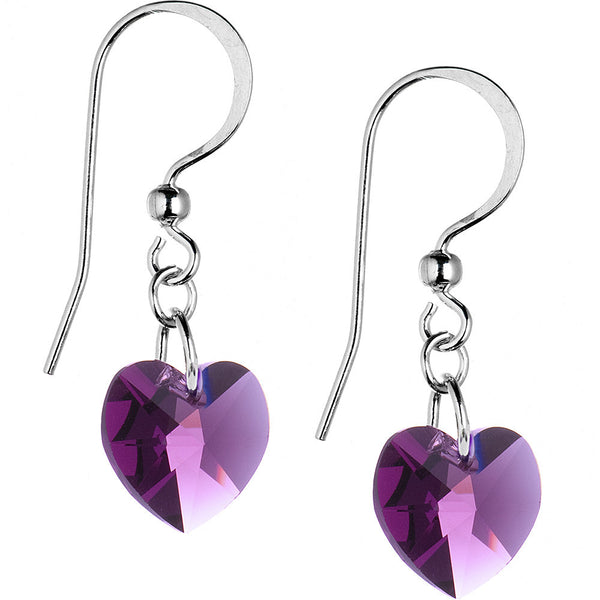 Heart February Birthstone Earrings Created with Swarovski Crystals