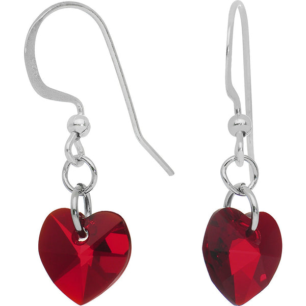 Heart July Birthstone Earrings Created with Swarovski Crystals
