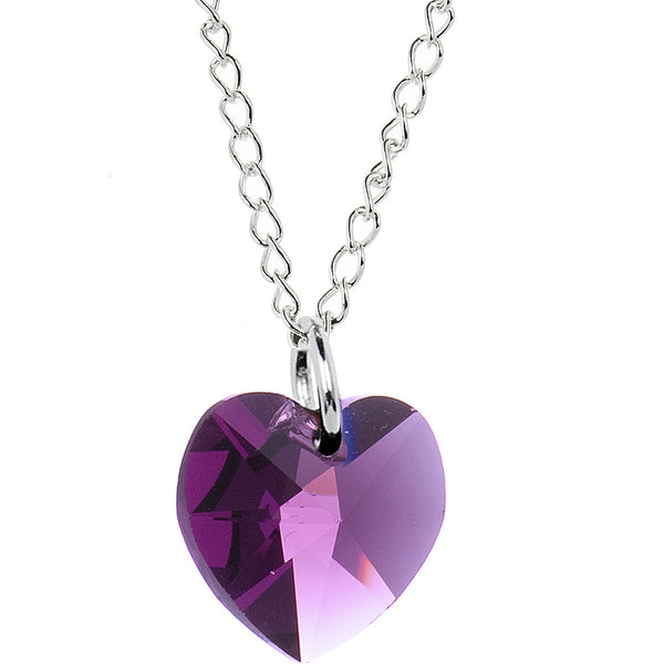 Heart February Birthstone Necklace Created with Swarovski Crystals
