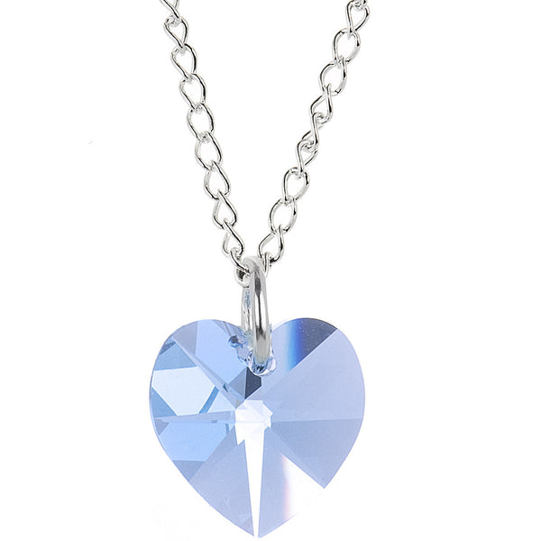 Heart March Birthstone Necklace Created with Swarovski Crystals