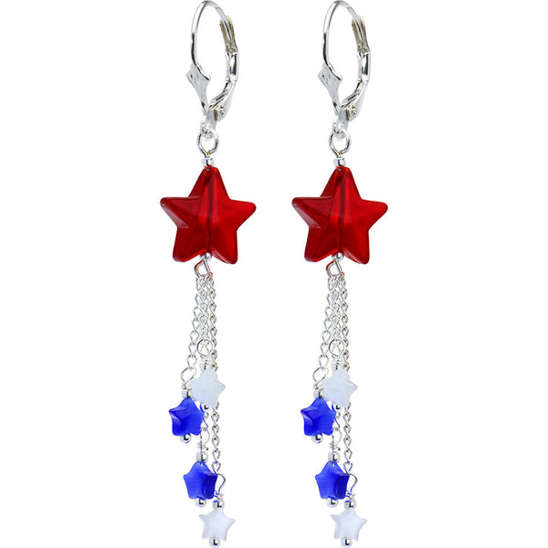 Handcrafted Silver Plated Leverback Patriotic Star Drop Earrings