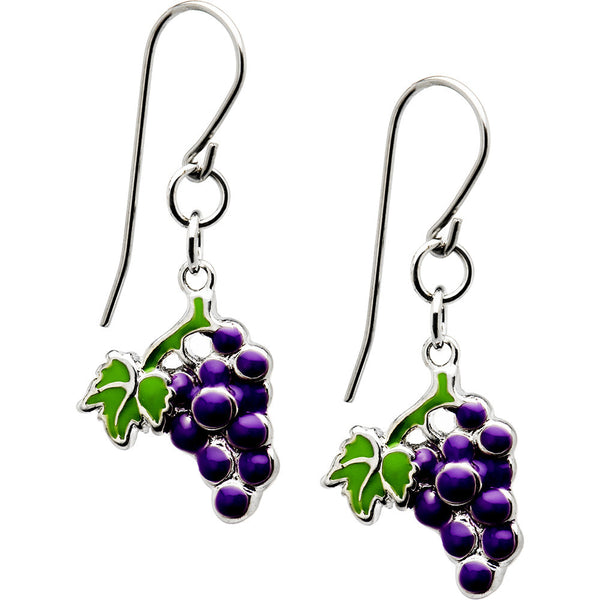 Handcrafted Stainless Steel Wine Grape Earrings