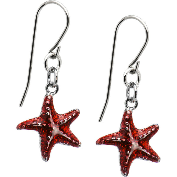 Red Starfish Earrings