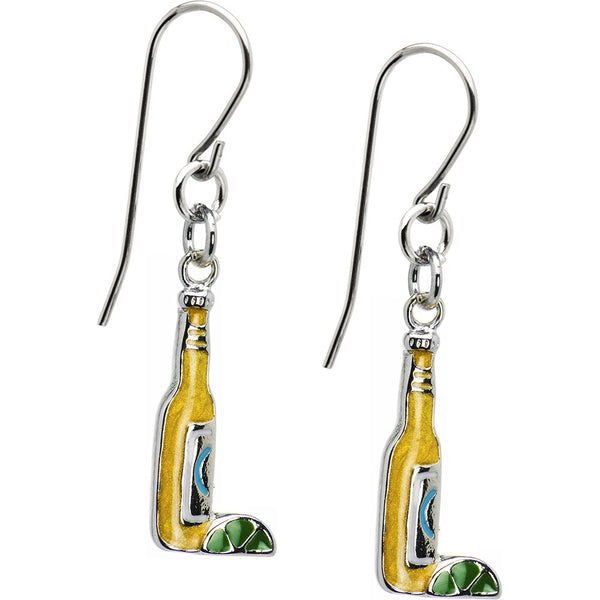 Beer Bottle with Lime Earrings