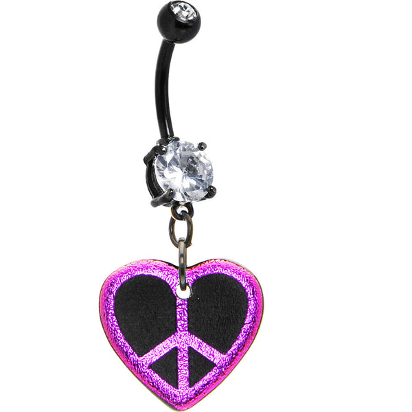 Handcrafted Dichroic Glass Pink Peace Heart Belly Ring