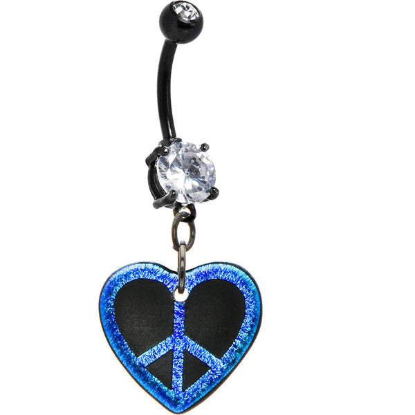 Handcrafted Dichroic Glass Blue Peace Heart Belly Ring