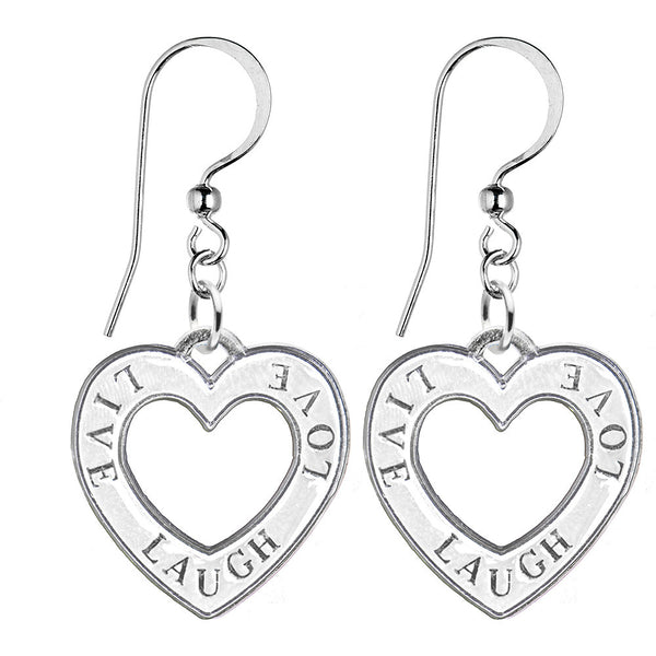 Handcrafted Silver tone Tone White Live Laugh Love Earrings