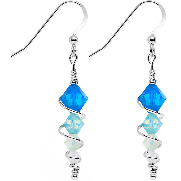 925 Silver Blue Icicle Drop Earrings Created with Swarovski Crystals