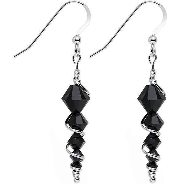 925 Silver Black Icicle Drop Earrings Created with Swarovski Crystals
