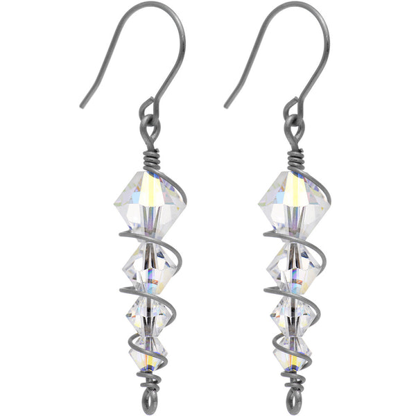 Titanium Clear Icicle Drop Earrings Created with Swarovski Crystals
