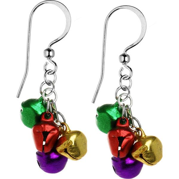 Handcrafted Holiday Color Jingle Bell Earrings