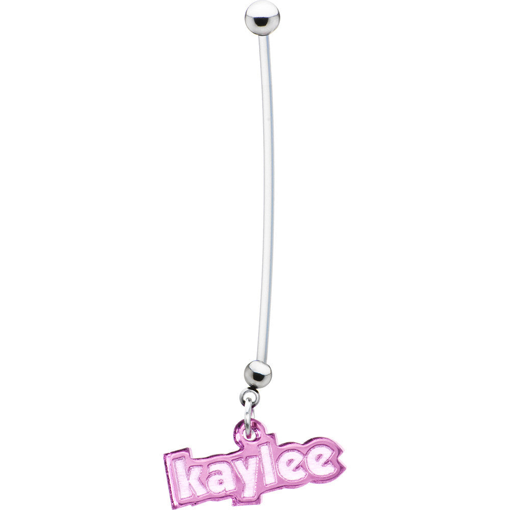 Custom Flexible Ptfe Pink Personalized Name Pregnancy Belly Ring