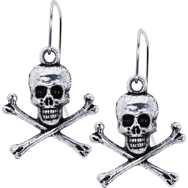 Antiqued Silver Tone Skull and Crossbone Earrings