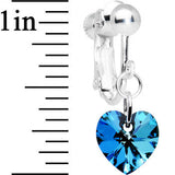 Bermuda Blue Heart Clip Earrings Created with Swarovski Crystals