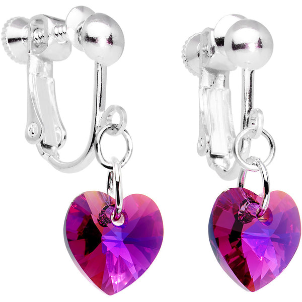 Fuchsia Heart Clip Earrings Created with Swarovski Crystals