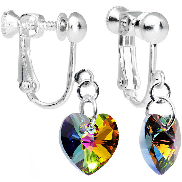 Light Vitrail Heart Clip Earrings Created with Swarovski Crystals