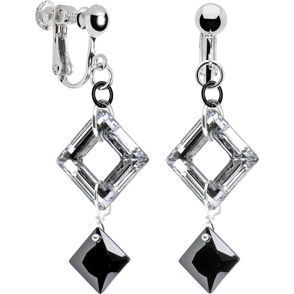 Jet Drop Square Clip Earrings Created with Swarovski Crystals