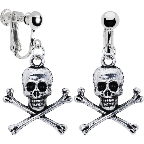 Antiqued Silver Tone Skull and Crossbone Clip Earrings