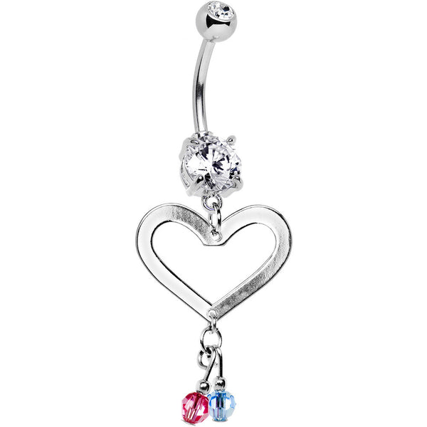 Personalized Couples Birthstone Heart Belly Ring MADE WITH SWAROVSKI ELEMENTS