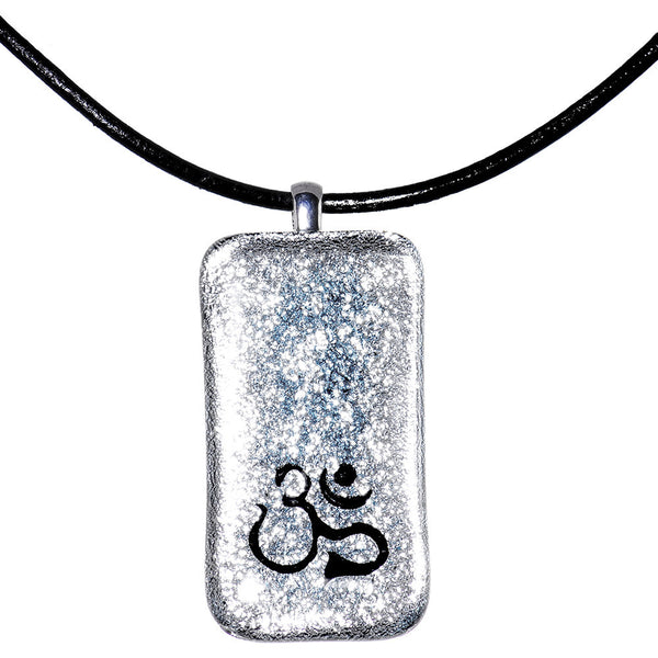 Handcrafted Silver Om Symbol Dichroic Glass Necklace