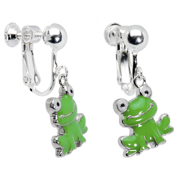 Smiling Frog Clip On Earrings