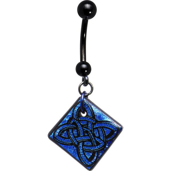 Handcrafted Blue Dichroic Celtic Knot Belly Ring