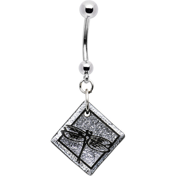 Handcrafted Silver Dichroic Dragonfly Belly Ring