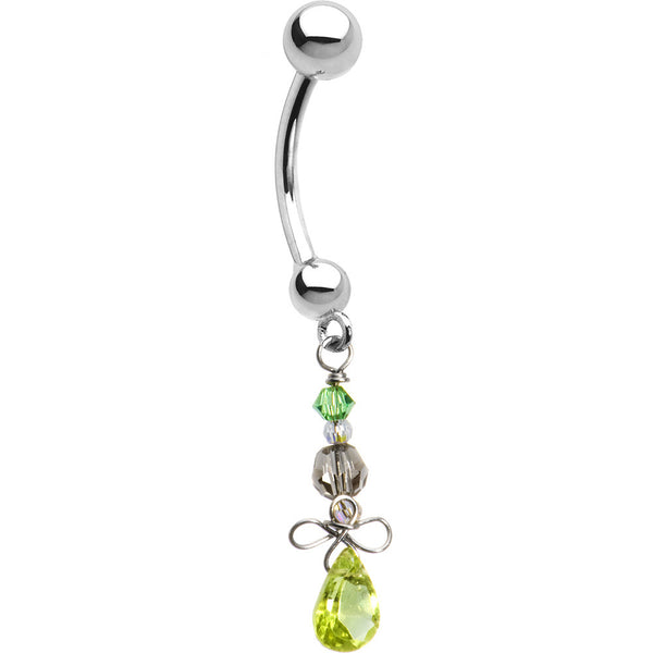 Solid 14K White Gold Peridot Gemstone Dangle Belly Ring