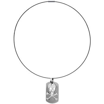 Steel Skull and Crossbones Dog Tag Choker Necklace