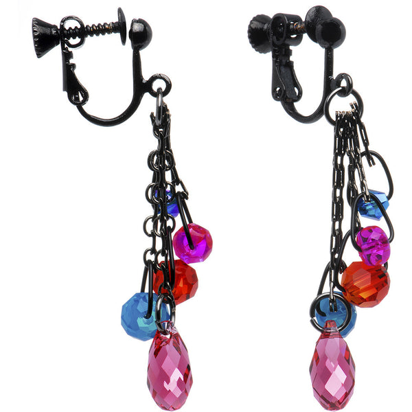Vibrant Drop Clip On Earrings Created with Swarovski Crystals