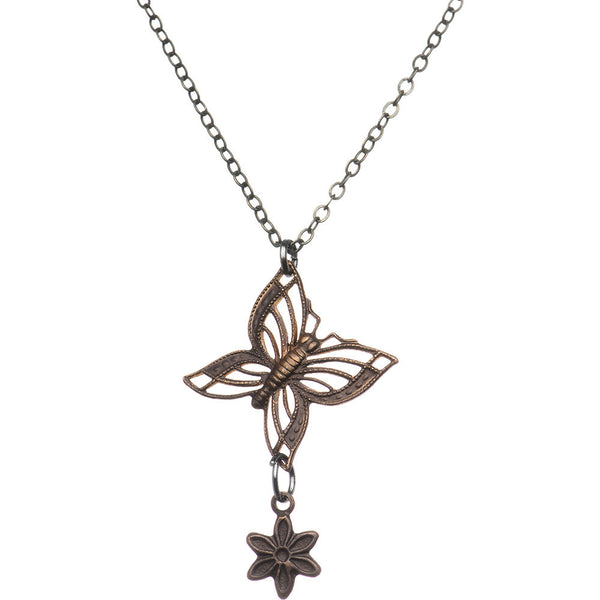 Vintage Flower Butterfly Necklace