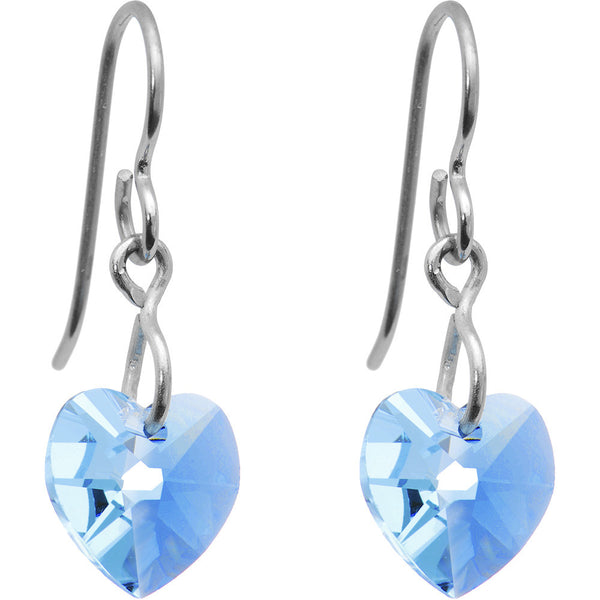 Titanium Heart March Earrings Created with Swarovski Crystals