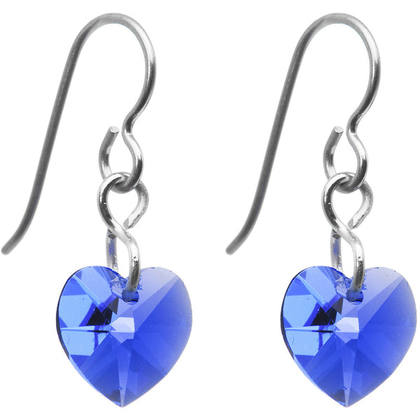 Titanium Heart September Earrings Created with Swarovski Crystals