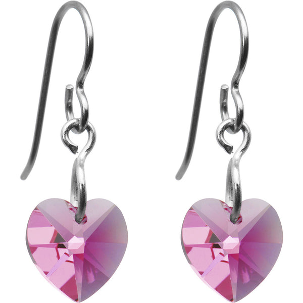 Titanium Heart October Earrings Created with Swarovski Crystals