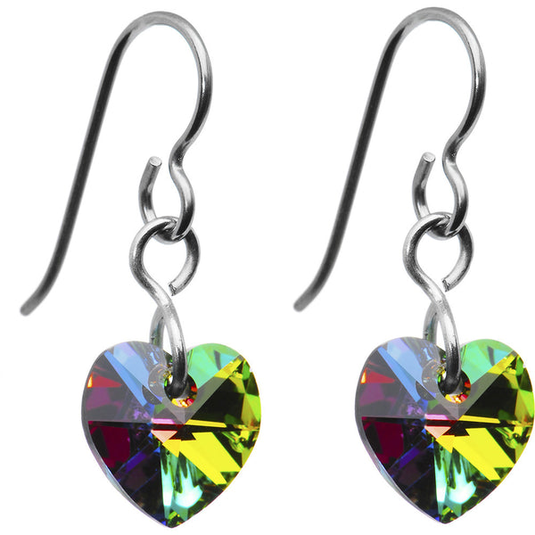 Titanium Vitrail Heart Earrings Created with Swarovski Crystals
