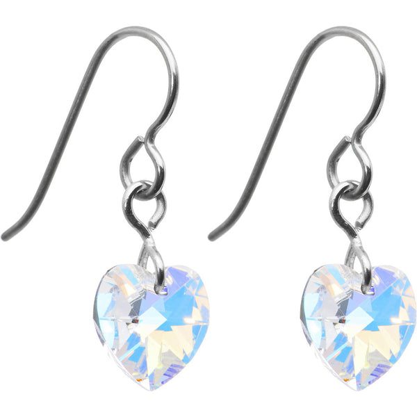 Titanium Crystal Heart Earrings Created with Swarovski Crystals