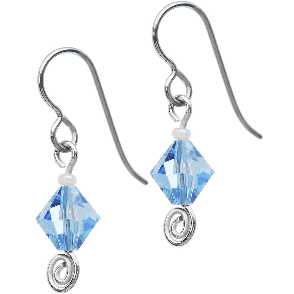 Titanium March Birthstone Earrings Created With Swarovski Crystals