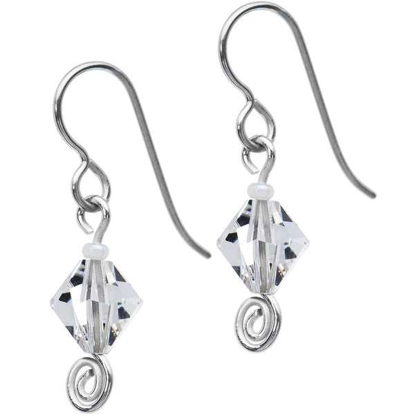Titanium April Birthstone Earrings Created with Swarovski Crystals