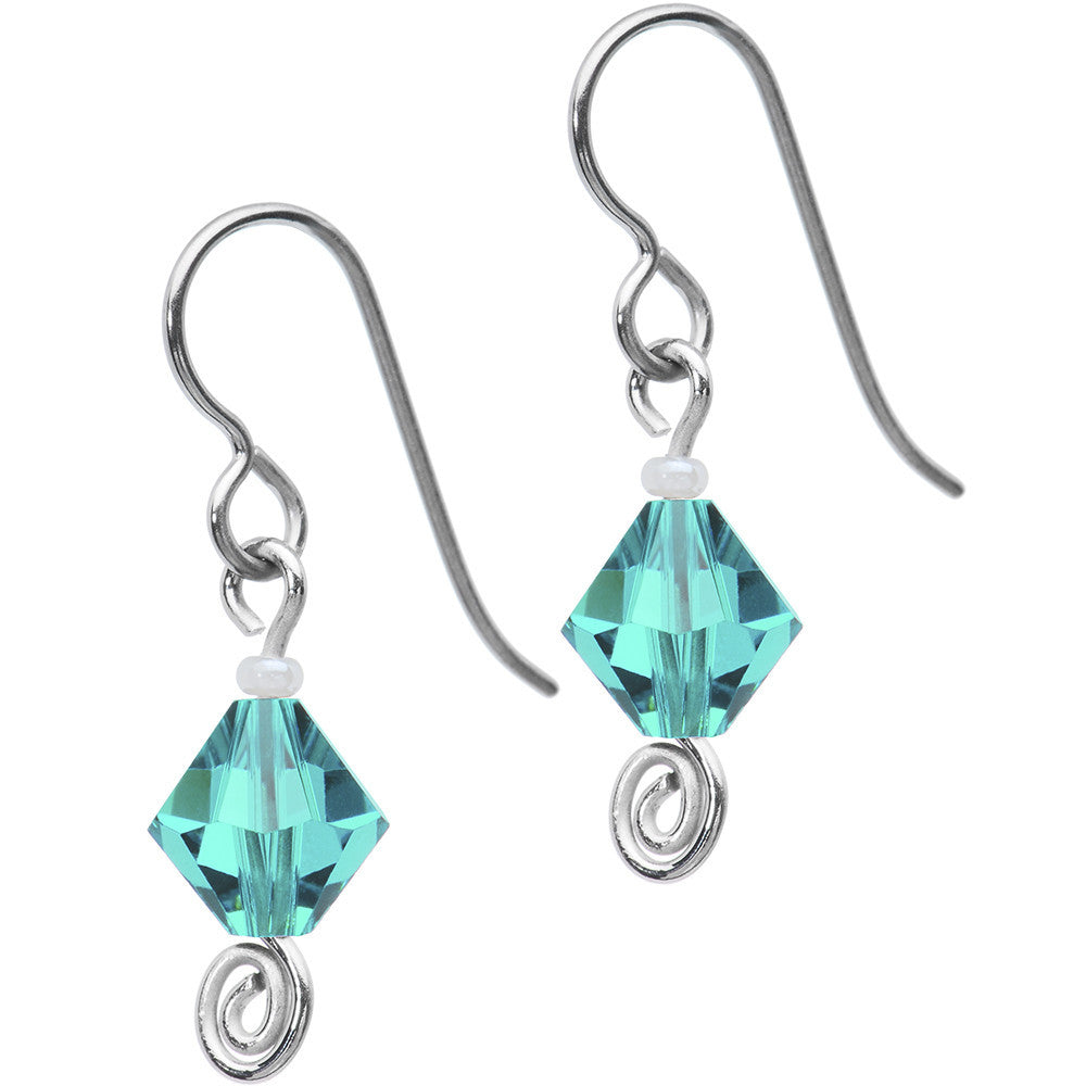 Titanium December Birthstone Earrings Created With Swarovski Crystals
