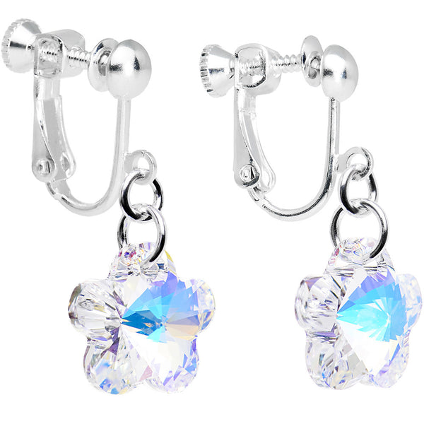 Clear Flower Clip Earrings Created with Swarovski Crystals