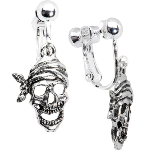 Handcrafted Skull Pirate Clip On Earrings
