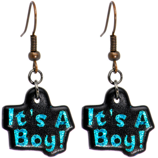 Handcrafted Blue Dichroic It's A Boy Earrings