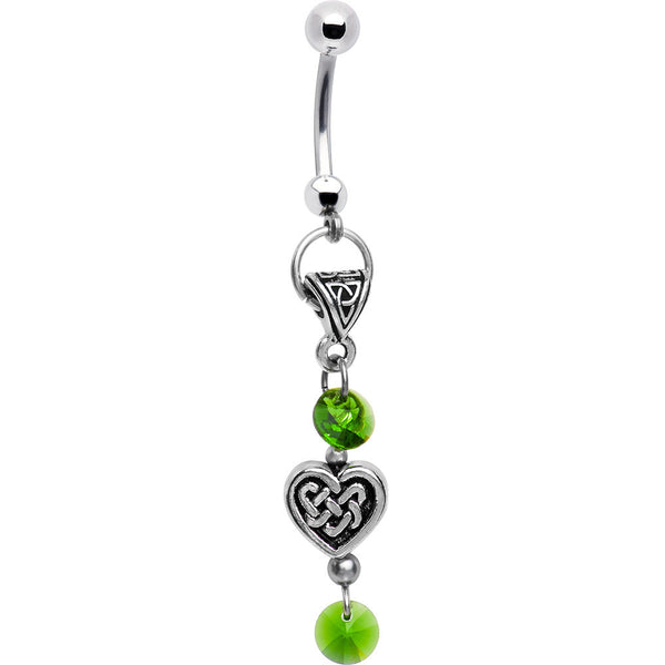 Handcrafted Celtic Heart Belly Ring Created with Swarovski Crystals