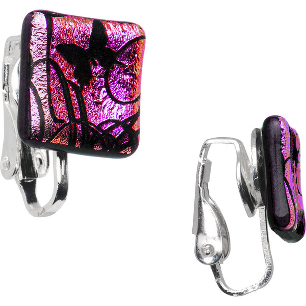 Handcrafted Pink Flight of the Butterfly Dichroic Clip Earrings
