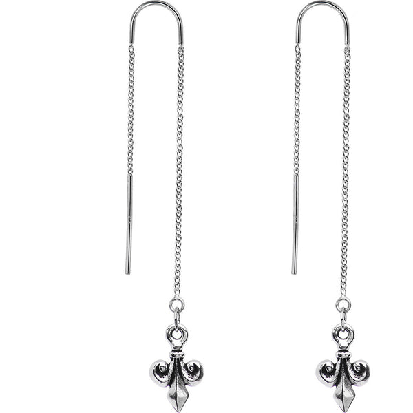 Handcrafted Silver Tone Fleur De Lis Threader Earrings