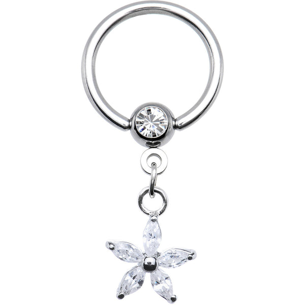 14 Gauge CZ Lily Flower Dangle Captive Ring
