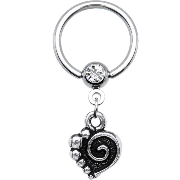 14 Gauge Spiral Heart Dangle Captive Ring