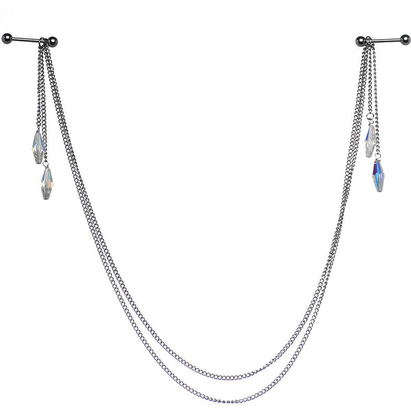 Bejeweled Barbell Nipple Chain Created with Swarovski Crystals