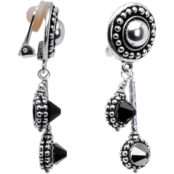 Silver Tone Stuller Clip On Earrings Created with Swarovski Crystals