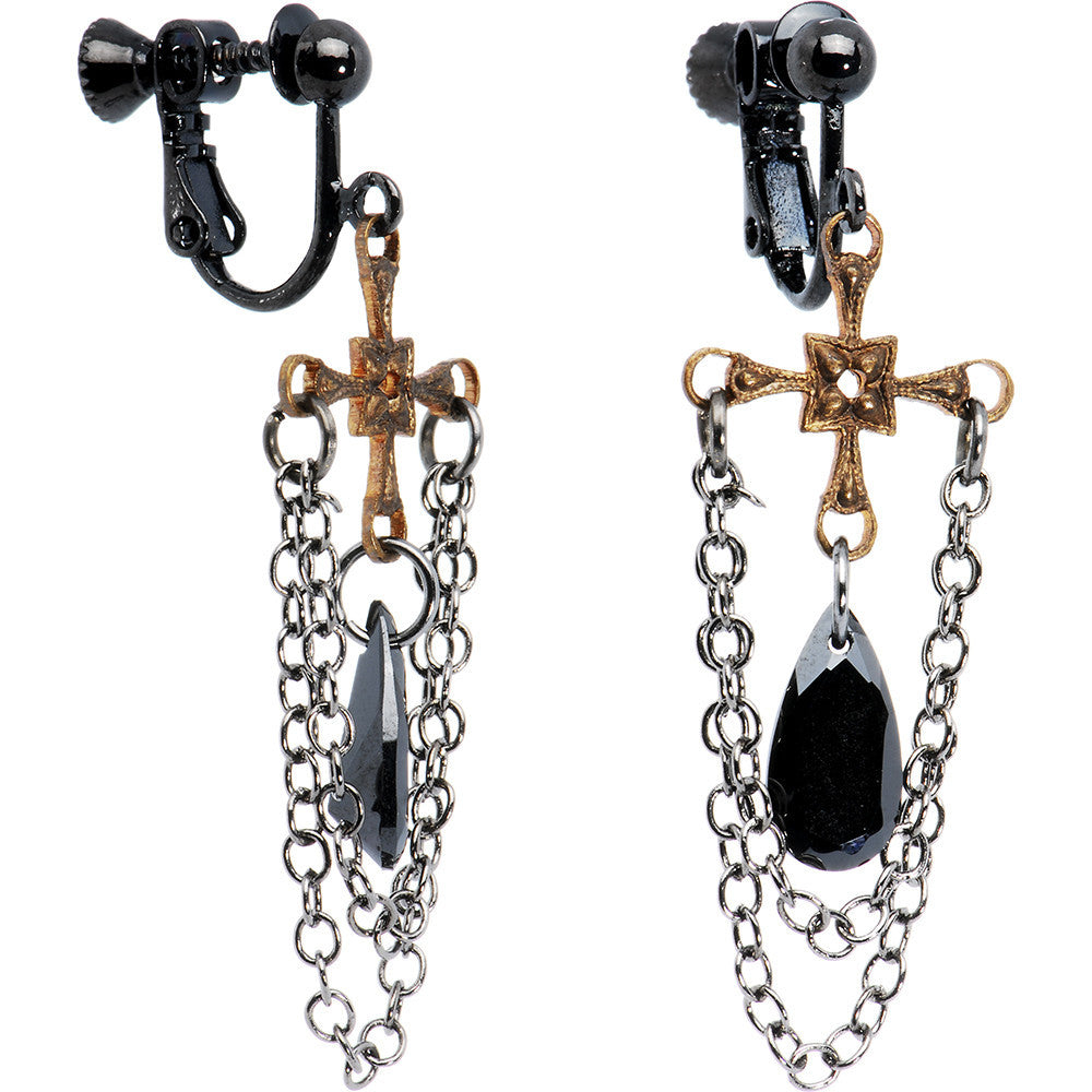 Handcrafted Vintage Cross Chain Dangle Clip On Earrings